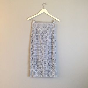 ❁ Zara Powder Blue Lace Midi Pencil Skirt ❁